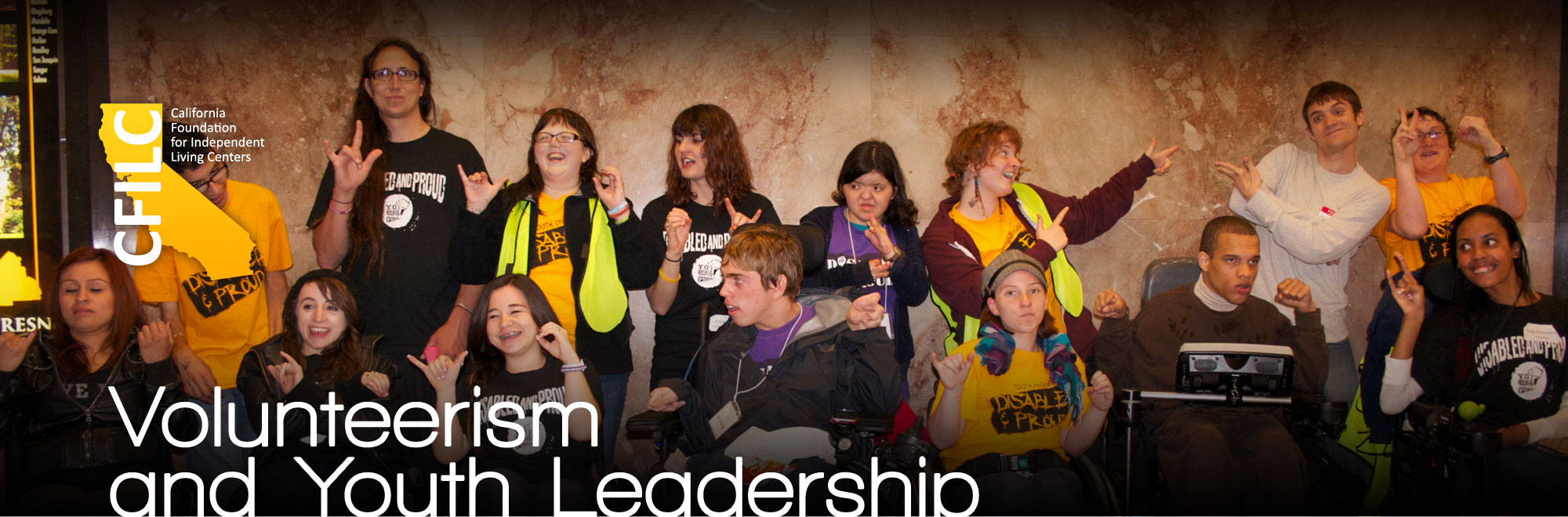 Banner of YO! Volunteerism and Youth Leadership, with a group of youth gantered inside the Capitol during the 2011 Capitol Action Day.