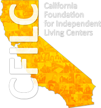 Logo of CFILC with photos faded inside.